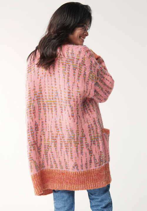 Image of Kip & Co PINKY STAR OVERSIZED KNITTED LONG CARDIGAN