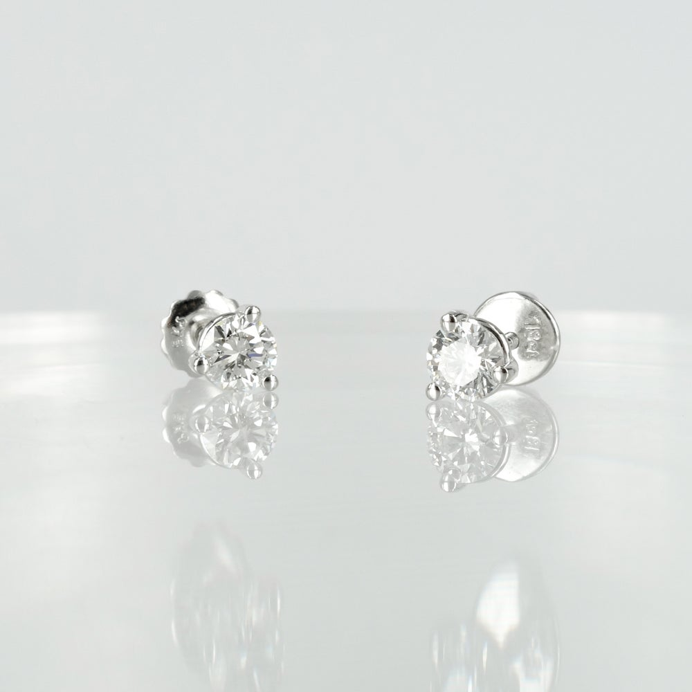 Image of 18ct white gold diamond stud earrings. 2 =.67ct EVS2. SH1305
