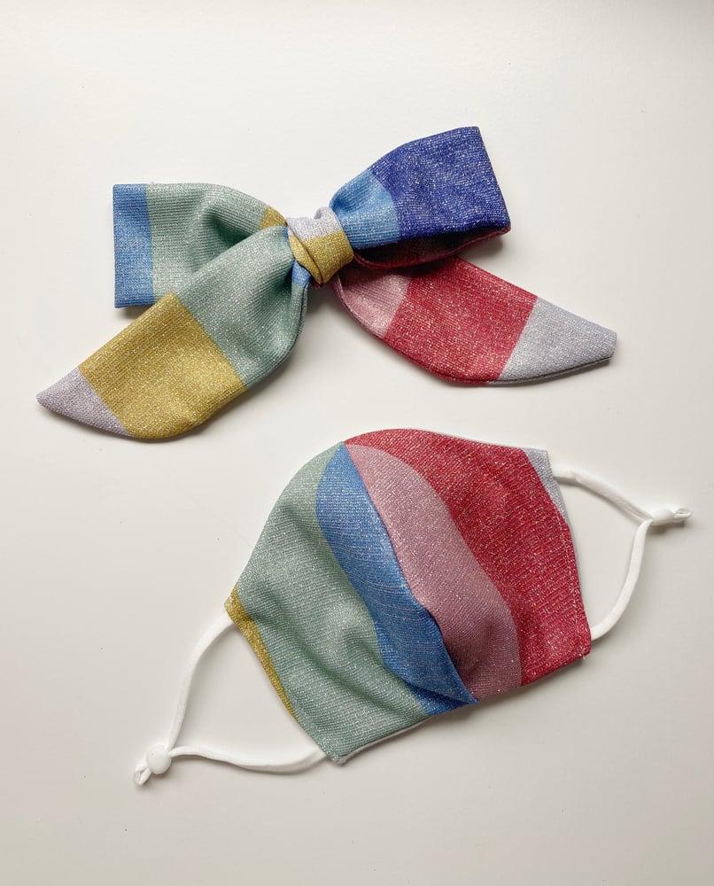Image of Face Mask & Bow Set | Rainbow Glitter