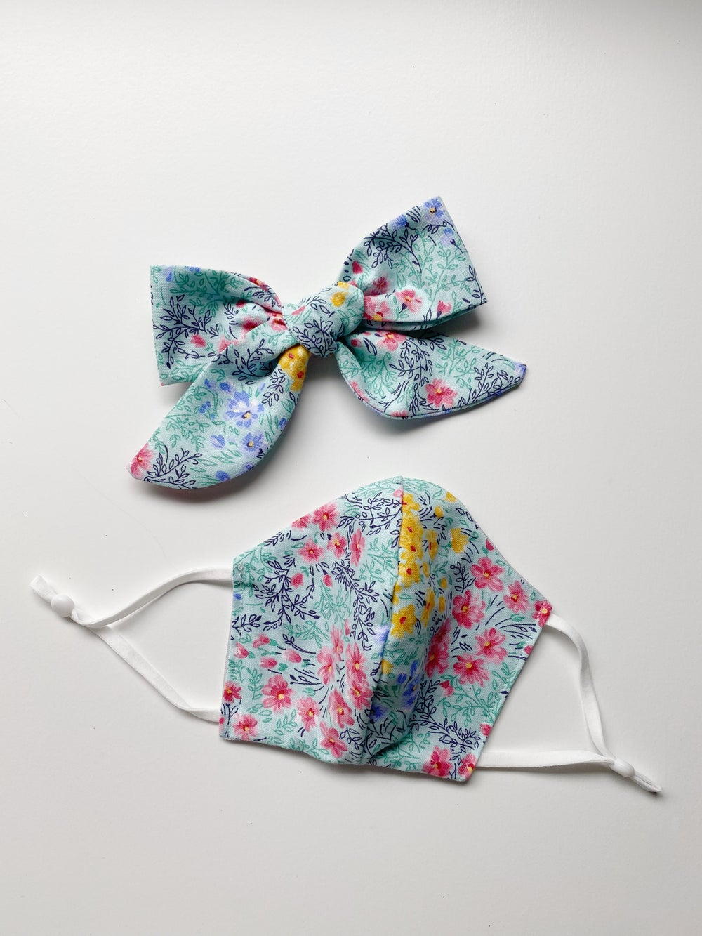 Image of Face Mask & Bow Set | Floral