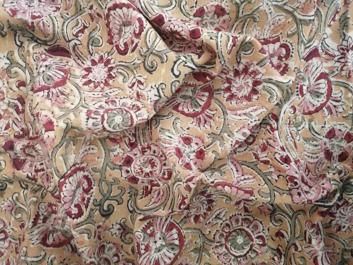 Image of Namasté fabric kalamkari orangé