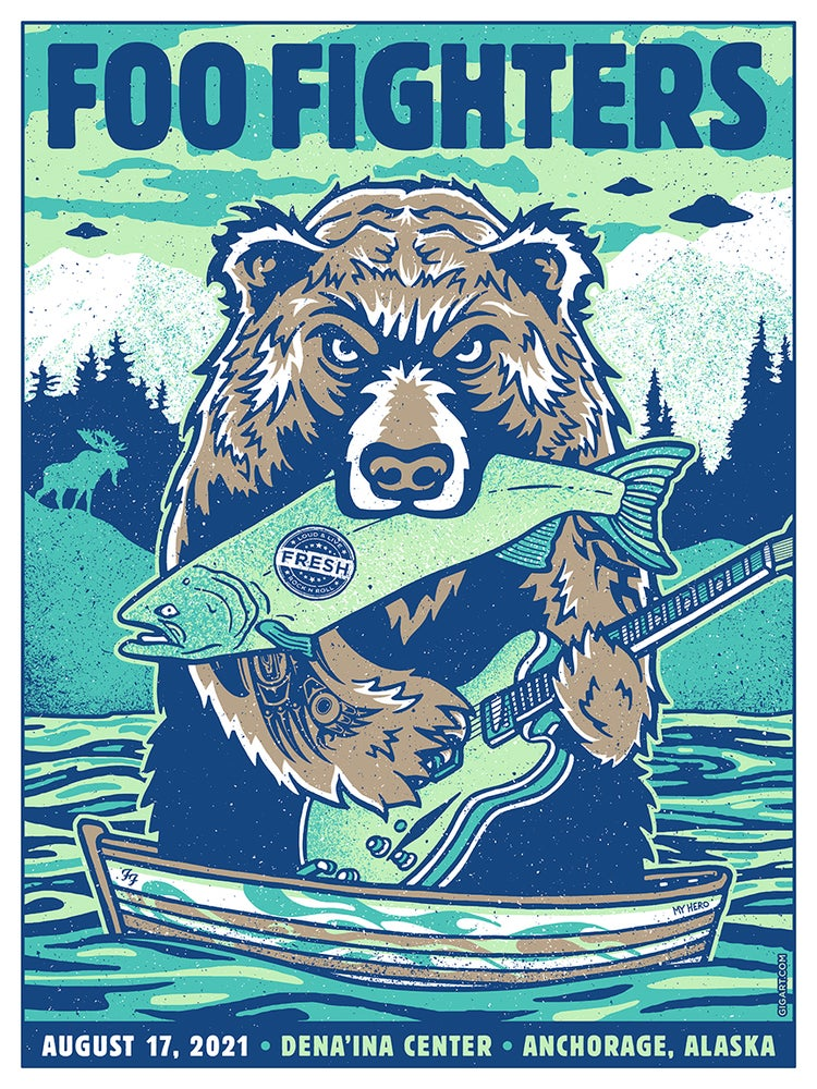 Image of Foo Fighters BEAR 2021 Anchorage AK - Main Show Poster 1