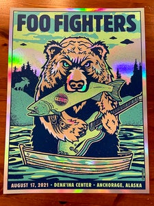 Image of Foo Fighters BEAR 2021 Anchorage AK - Rainbow Foil Variant 1