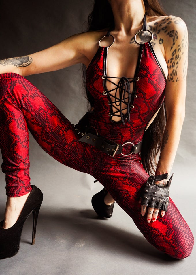 Image of Toxic Vision red Snakebite Switchblade catsuit MULTI SIZE