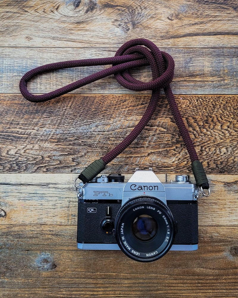 Image of Maroon rope shoulder strap w/ split ring attachments
