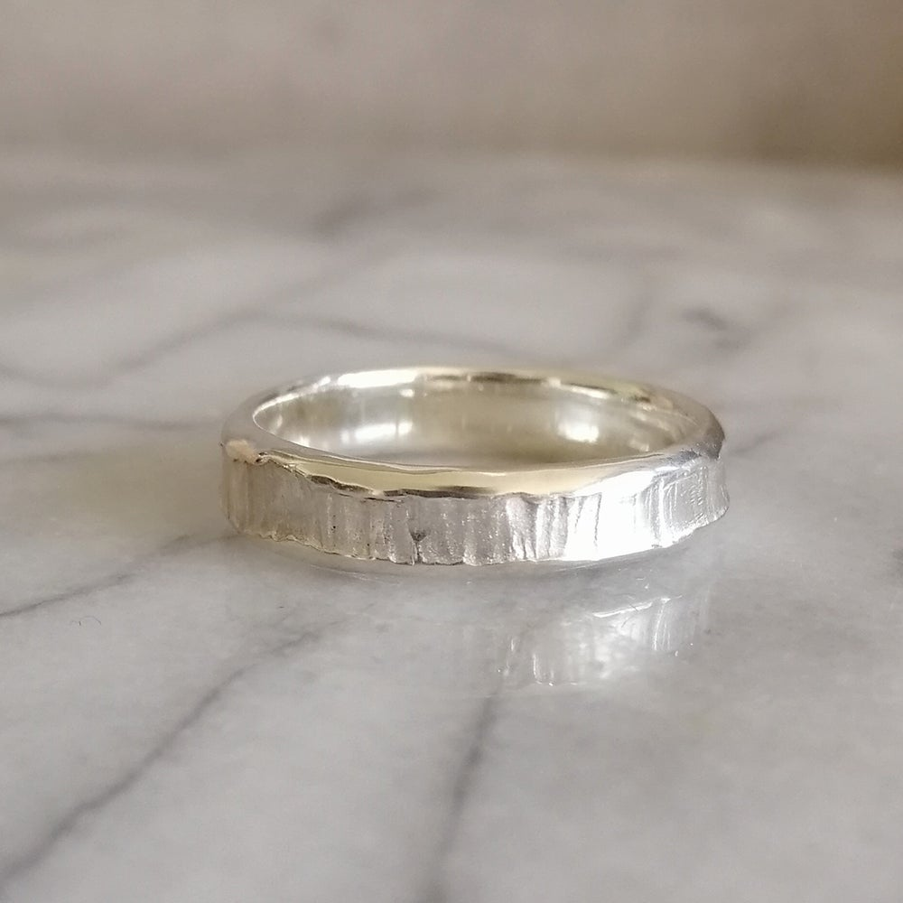 Image of Bark texture silver ring