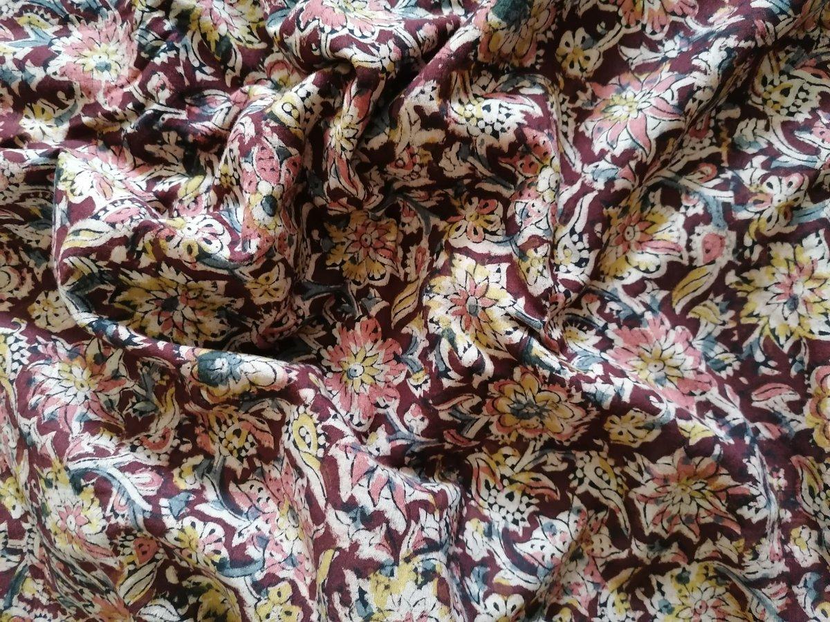 Image of Namasté fabric kalamkari brun