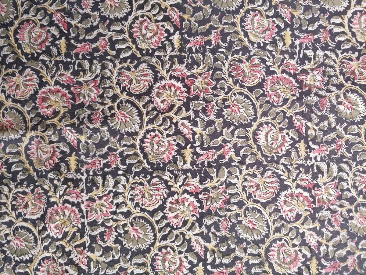 Image of Namasté fabric kalamkari noir pointe de rose