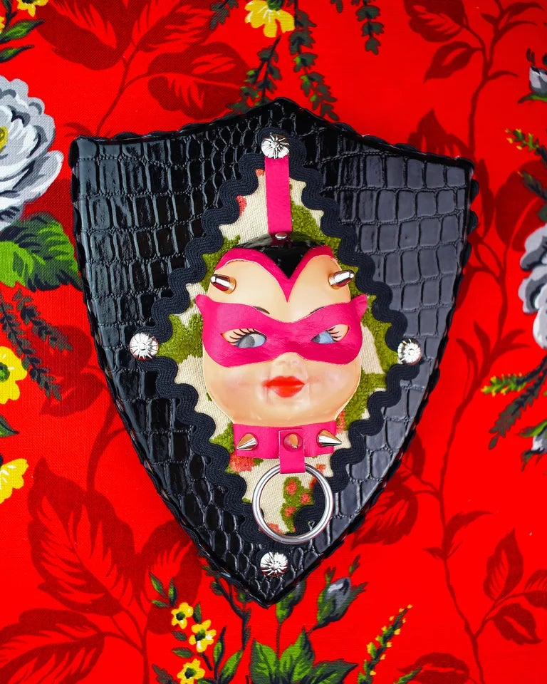 Kinky Kewpie Devil Doll Vintage Style Wall Plaque With Pink Mask