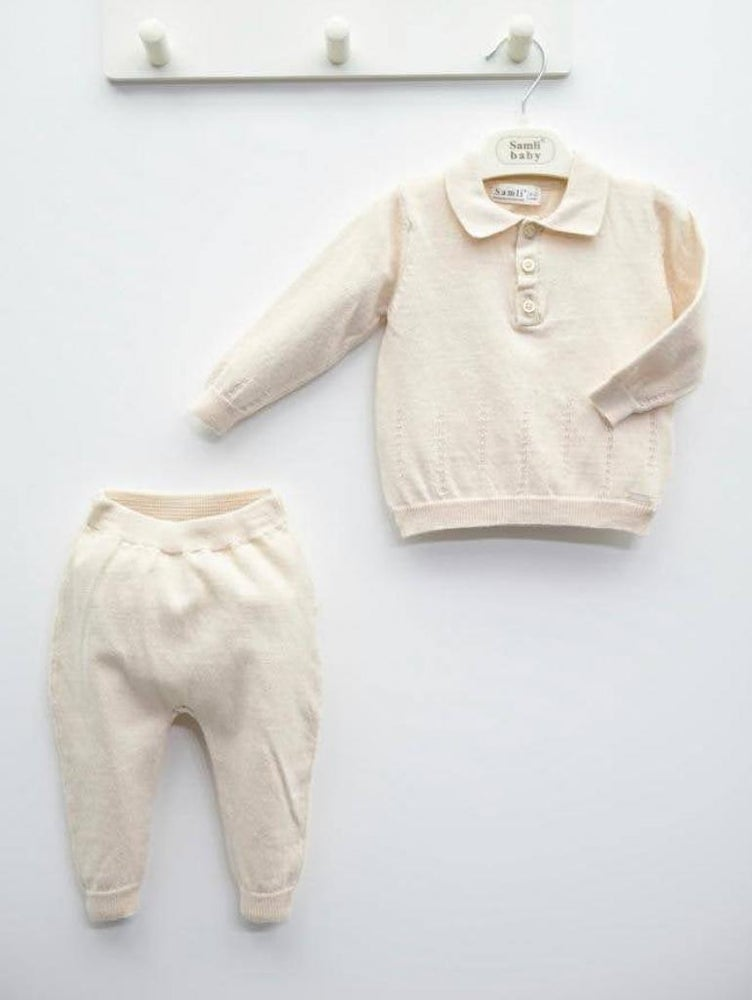 Image of Cream Collared Knitted Tracksuit
