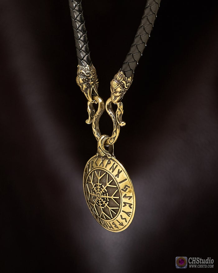 Aegishjalmur - Helm of Awe with Futhark Runes :: Leather Necklace