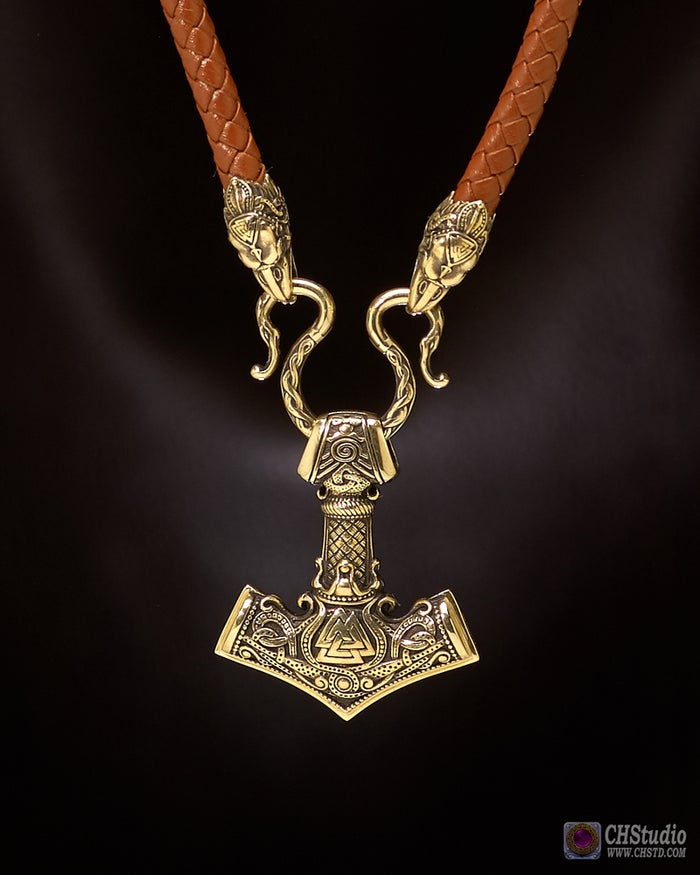 MJOLNIR with Valknut :: Leather Necklace