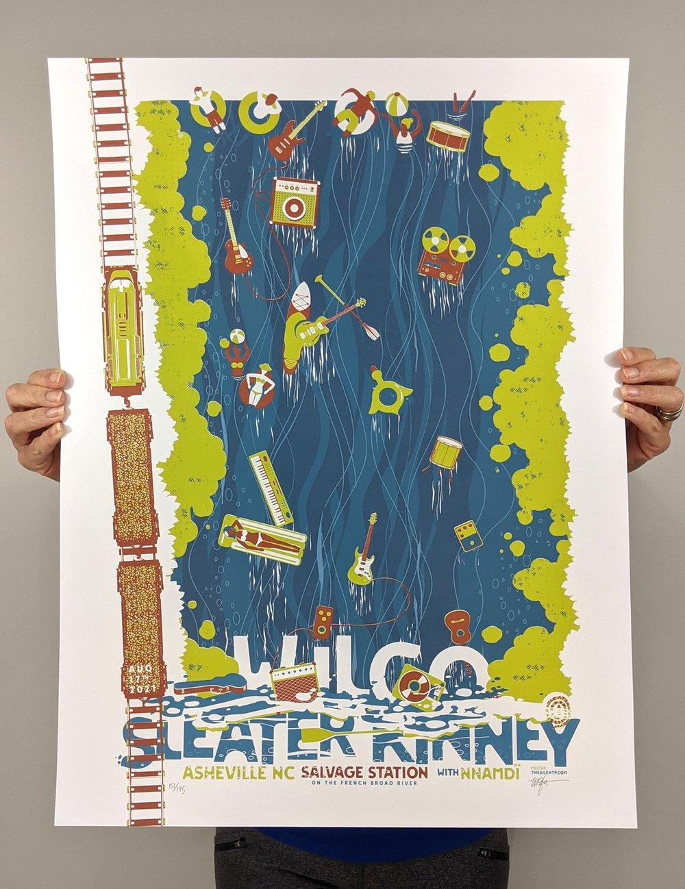 "Wilco & Sleater Kinney, Asheville, NC ""Float the River"" poster"