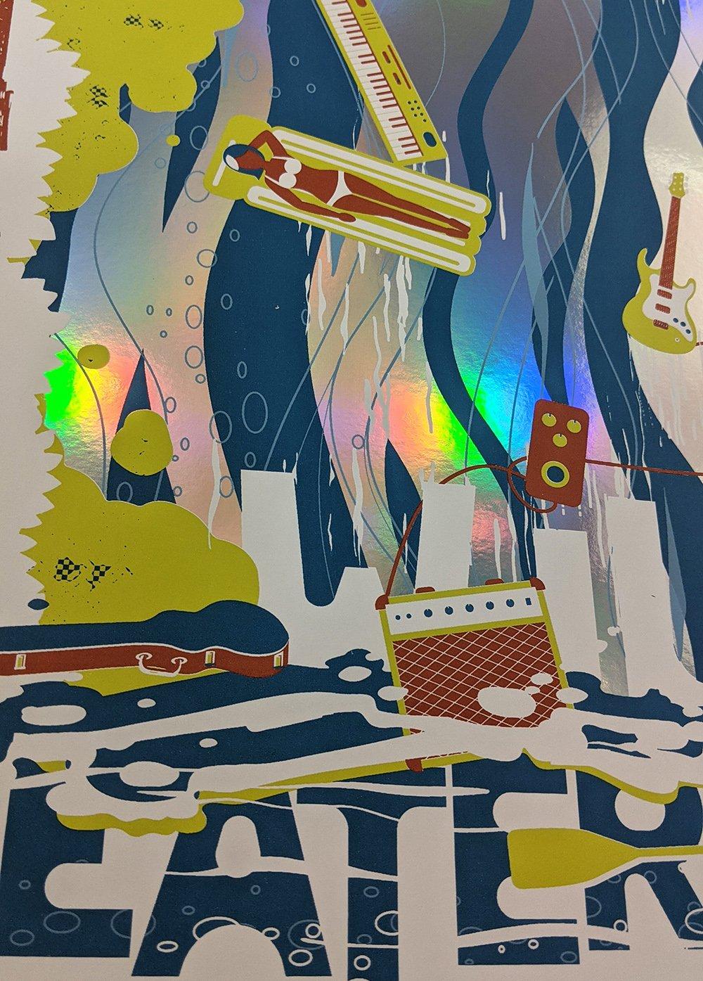"""Wilco & Sleater Kinney, Asheville, NC """"Float the River"""" poster ** FOIL VARIANT**"""