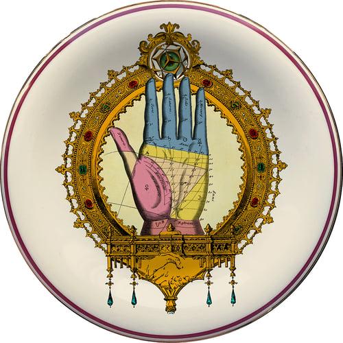 Image of Palmistry DUO (*) - 2 vintage porcelain plates UNIQUE PIECES - #0769