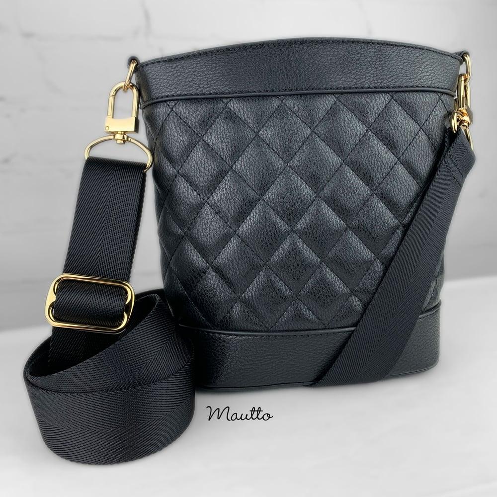 "Image of Black Onyx Adjustable Strap for Bags - Luxurious Satin Nylon, 1.5"" Wide - U Shape #16XLG Hooks"
