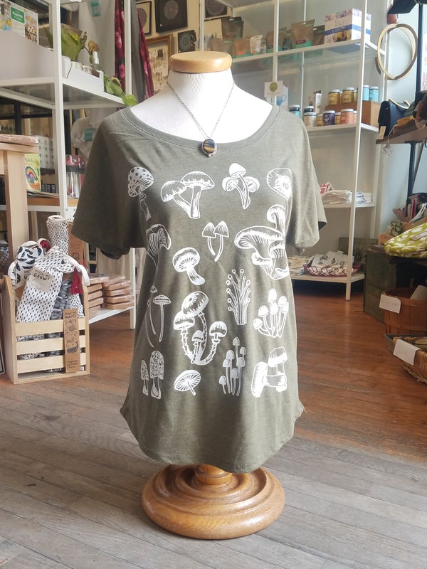 Image of Olive Dolman Top with Mushrooms