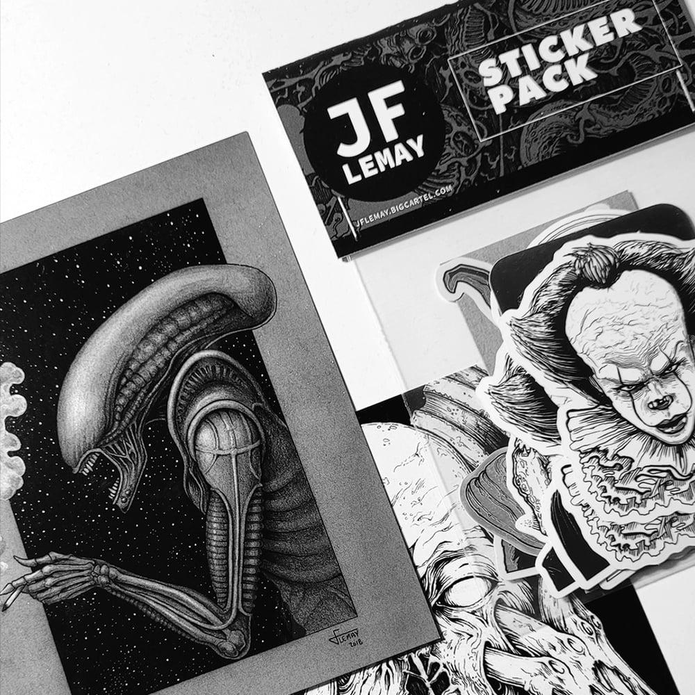Image of 10 Sticker Pack + 2 Postcards