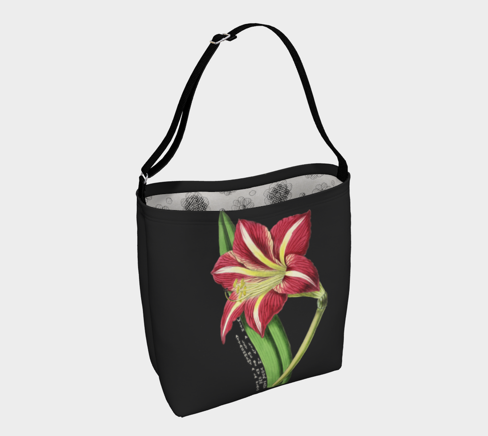Image of Dark Gray Tote Bag with Vintage Lily Illustration with haiku inspired by W.S. Gilbert's Poem