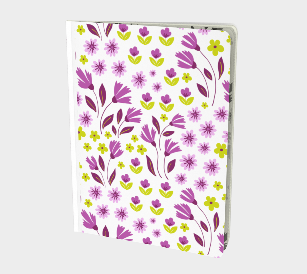 Image of White Large Notebook with Purple Flowers with Geoffrey Chaucer inspired poetry