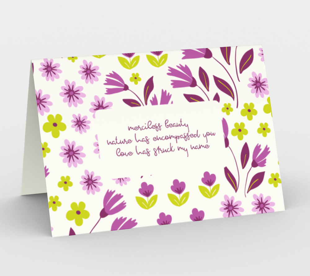 Image of White Stationary Card with Purple Flowers with Geoffrey Chaucer Inspired Poetry