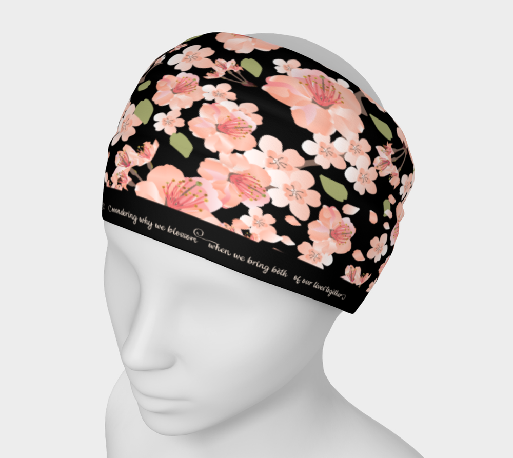Image of Cherry Blossom Pattern Black Headband with poem by Matsuo Basho
