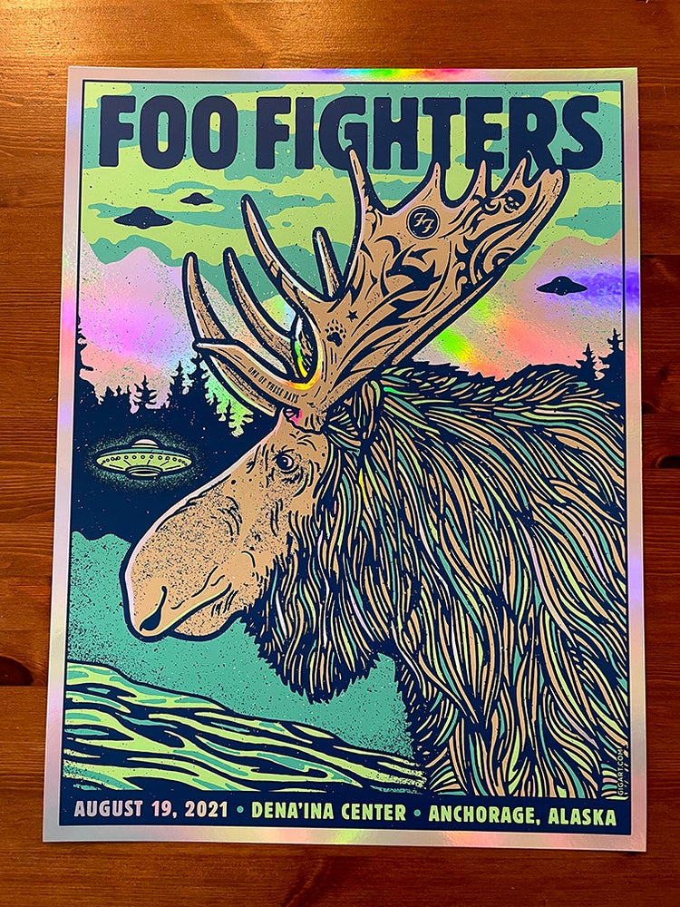 Image of Foo Fighters MOOSE 2021 Anchorage AK - Rainbow Foil Variant 2