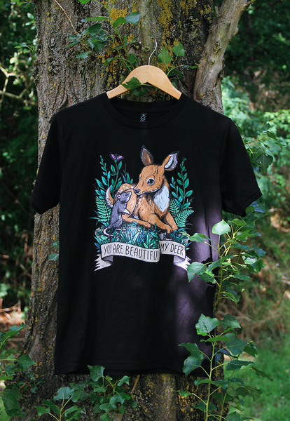 Image of My Deer Organic T-Shirt ~ Full Colour Black