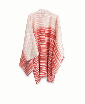 Image of Stribet kort kimono af kraftig silke