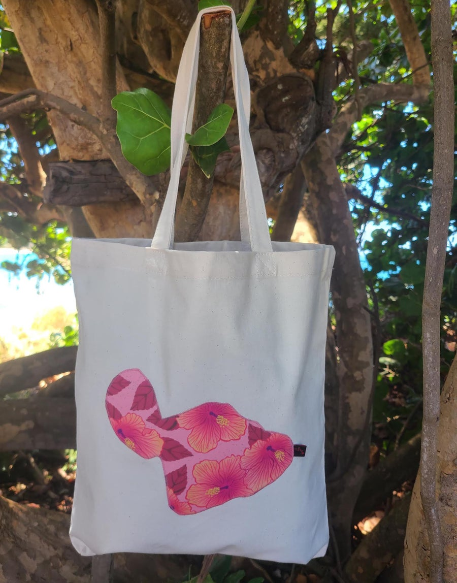 Image of Pink Hibiscus Canvas Tote Bag