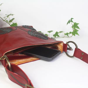 Image of Leather Hip Bag - Monstera Red & Green