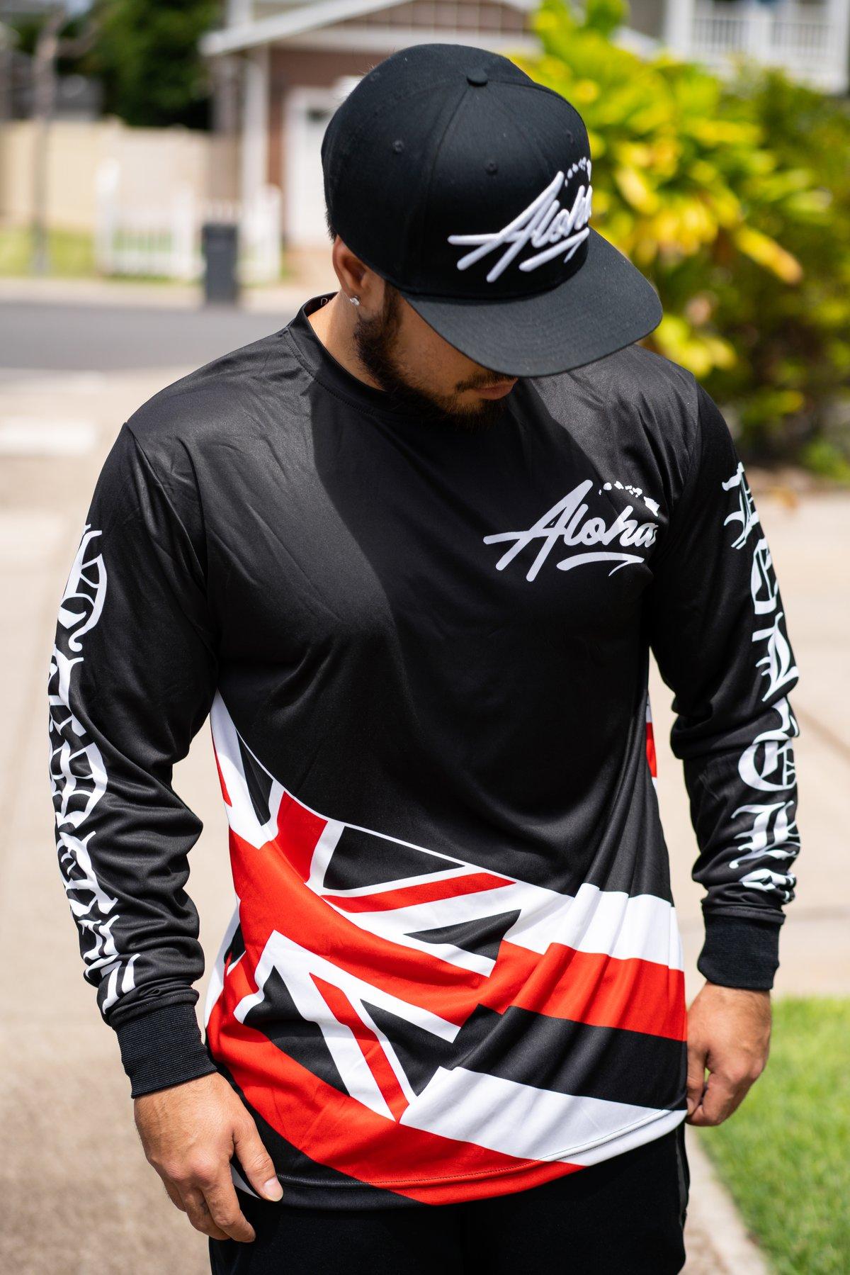 Aloha Islands Half-Flag Longsleeve (Red White Black)