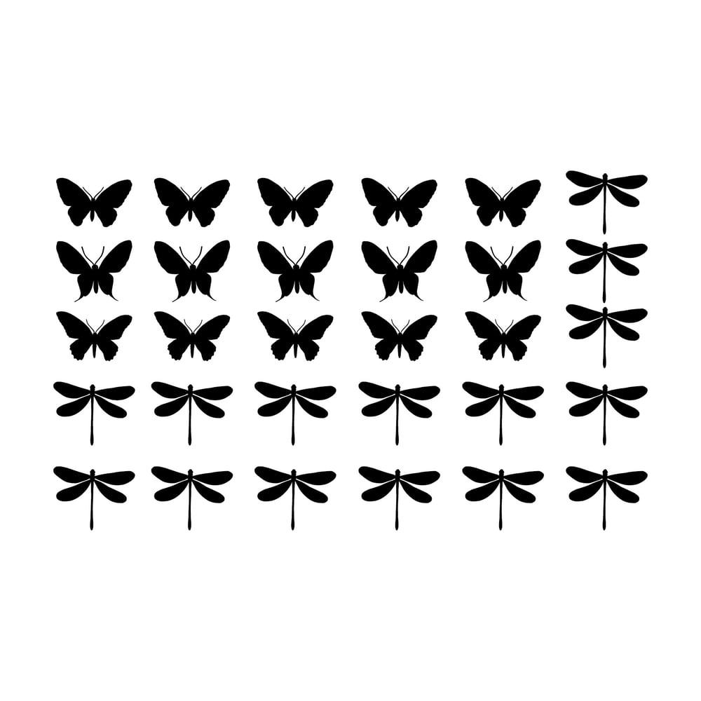 Image of Maßanfertigung  Fensterfolien Baum mit Tieren, Schmetterlinge und Libellen - Frosted