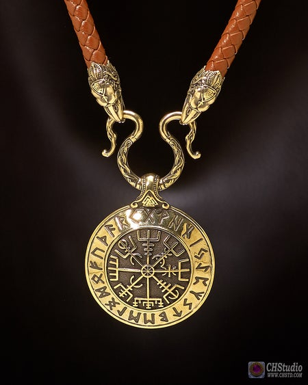Image of Vegvisir - Viking Сompass with Futhark Runes :: Leather Necklace