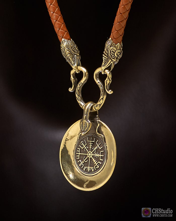 Vegvisir - Viking Сompass with Futhark Runes :: Leather Necklace