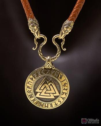 Image of Valknut with Futhark Runes :: Leather Necklace