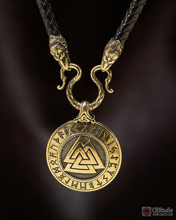 Valknut with Futhark Runes :: Leather Necklace