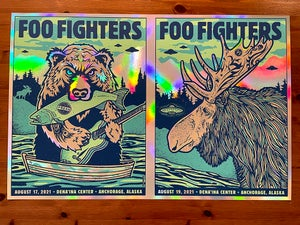 Image of Foo Fighters UNCUT FULL RAINBOW FOIL Anchorage AK
