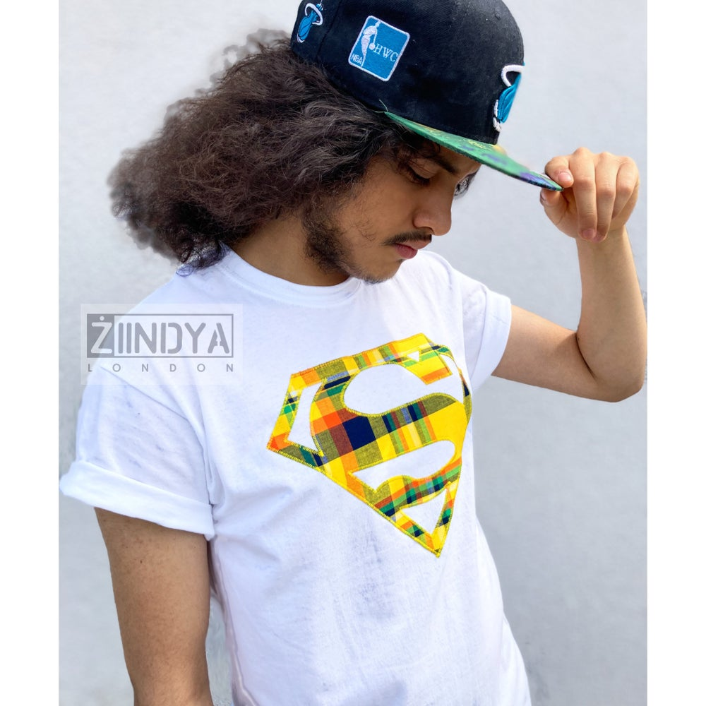 Image of Afro Superman Men's Tee shirt with Madras hand crafted applique