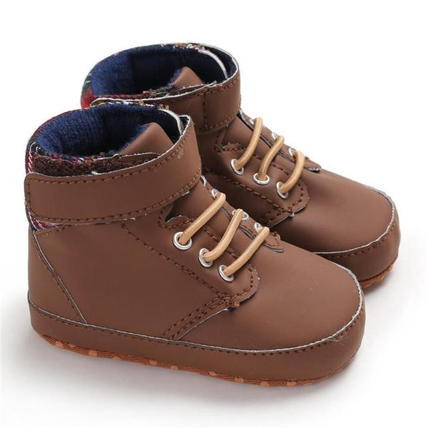 Image of Baby Boy High Top Plaid Sneakers