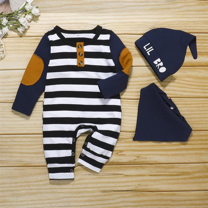 Image of 3PCS Stripped Long Sleeve Romper