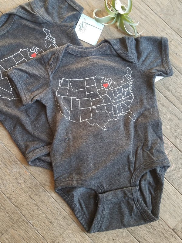 Image of Wisconsin State Map Onesie