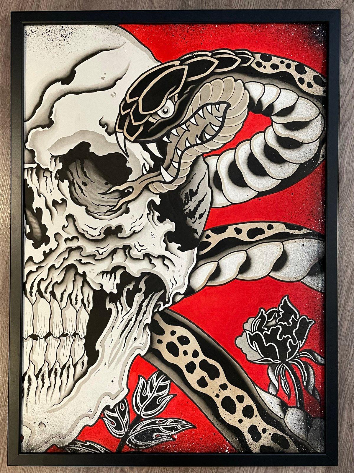 Skull,snake and flowers PRINT