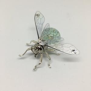 Flower Bug Steampunk clockwork dried flower light up disco bee pin brooch