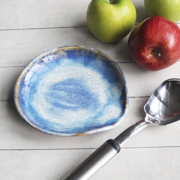 Image of Large Spoon Rest in Rustic Blue Swirly Glaze, Handmade Utensil Dish, Made in USA