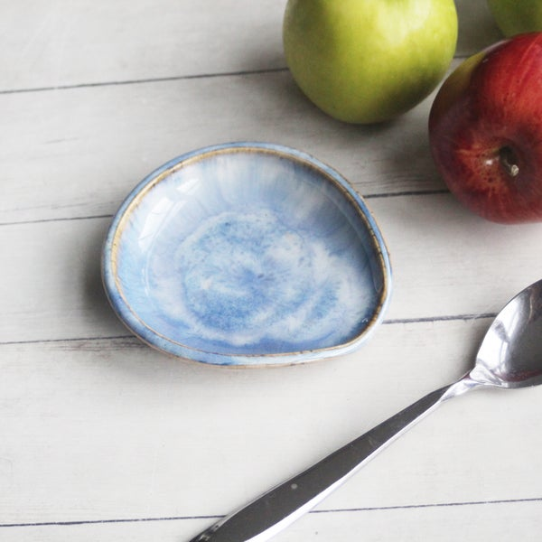 Image of Spoon Rest in Swirly Blue Glaze, Ceramic Coffee Station Spoon Dish, Made in USA