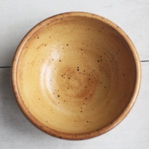 Image of Set of Three Rustic Golden Ocher Speckled Stoneware Prep Bowls Made in USA