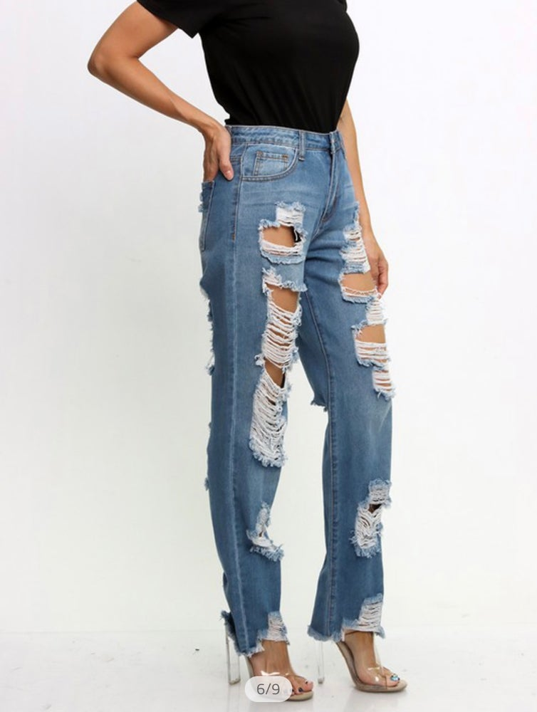 Image of Distressed Denim Jeans