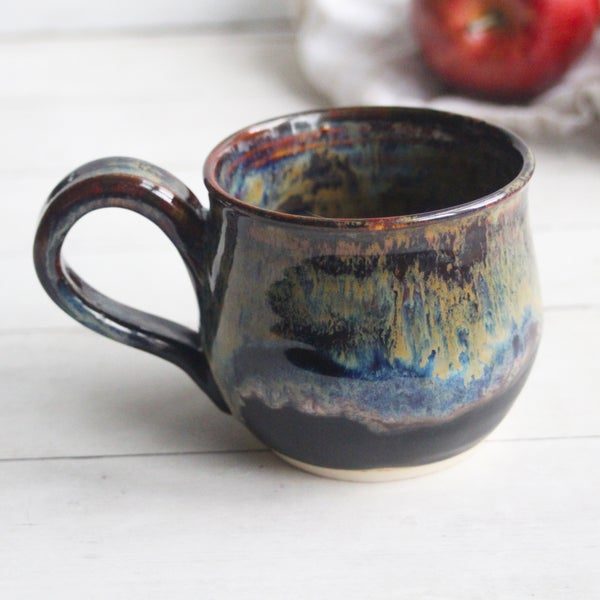 Image of Gorgeous Amber Brown, Gold and Blue Pottery Mug, 13 oz. Handcrafted Coffee Cup, Made in USA