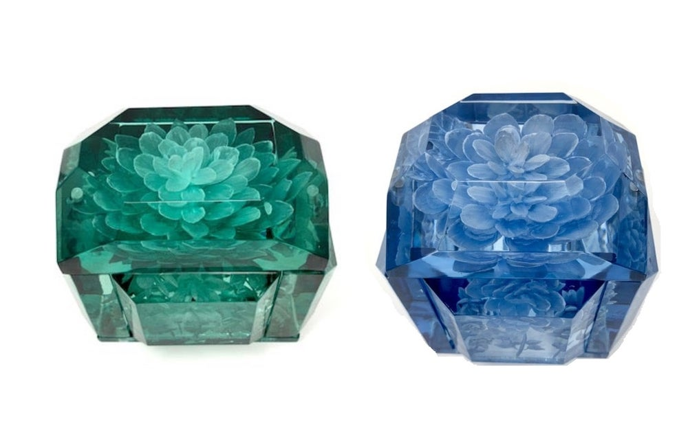 Image of Mini Victorian Floral Box (Blue or Teal)